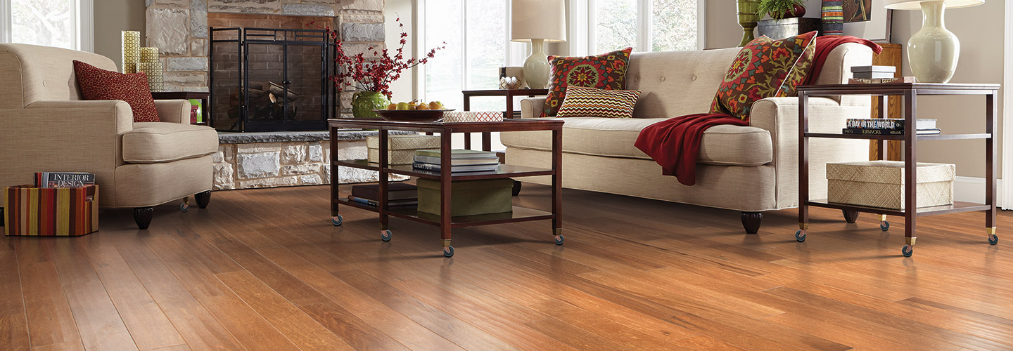 Living room scene with Alexander Smith hardwood flooring.